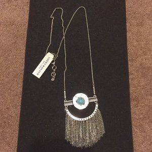 NWT Lucky Brand Silvertone Fringe Pendant Necklace